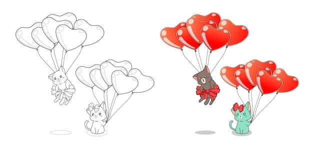Deux Chats Et Ballons Coeur Dessin Animé Facilement Coloriage Pour Les Enfants Vecteur Premium