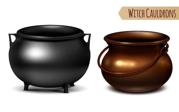 Deux Chaudrons Décoratifs De Sorcière En Métal Noir Et Bronze Avec Cintre En Forme D'arc Réaliste Vecteur gratuit