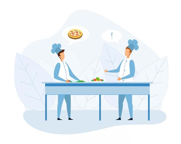 Deux chef cuisinier discutant de dessin animé de recette de pizza Vecteur Premium