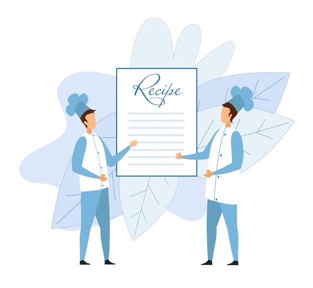 Deux chefs sans visage le chef discute de la recette Vecteur Premium