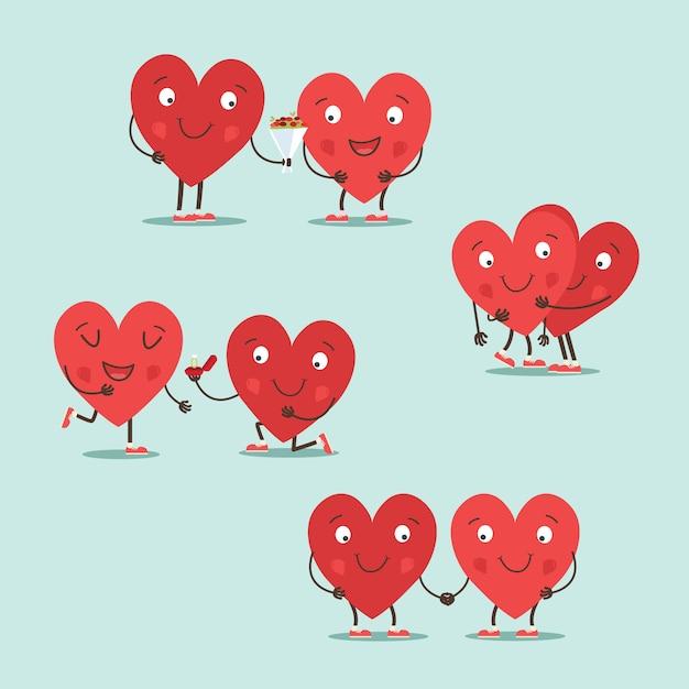 Deux Coeurs Heureux En Amour Vecteur Premium