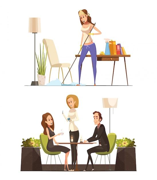 Deux compositions de dessin animé rétro avec une jeune femme occupée à nettoyer votre appartement et assis au café avec illustration vectorielle homme Vecteur gratuit