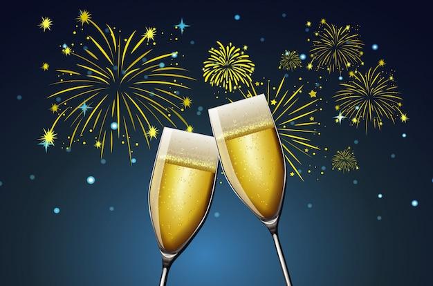 Deux Coupes De Champagne Et Feux D'artifice Vecteur gratuit