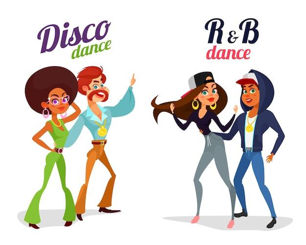 Deux Couples De Dessins Animés Dansant Dans Le Style Discothèque Et Le Rythme Et Le Blues Vecteur gratuit