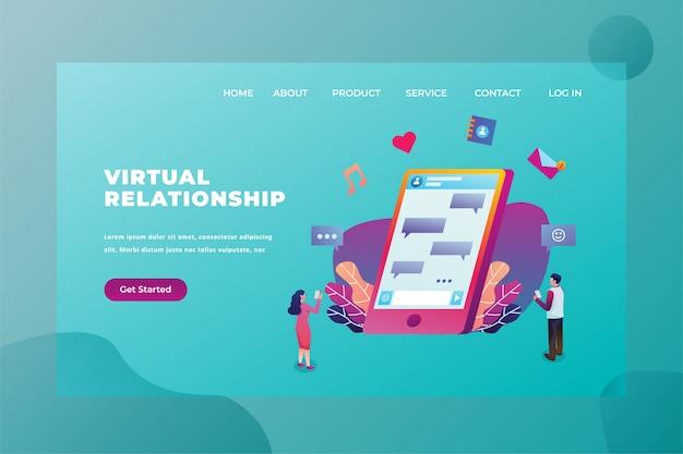 Deux Couples Toujours Connectés à L'aide De La Technologie De Relation Virtuelle Love & Relationship Web Page Header Landing Page Template Illustration Vecteur Premium