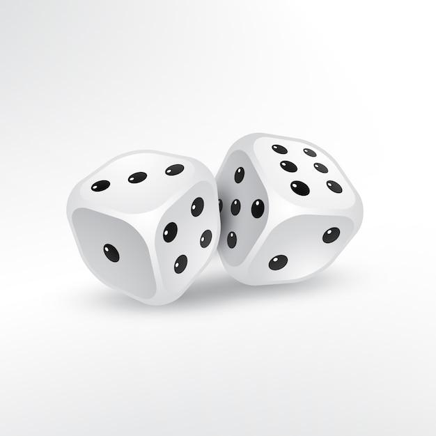 Deux dés sur fond blanc vecteur Vecteur gratuit