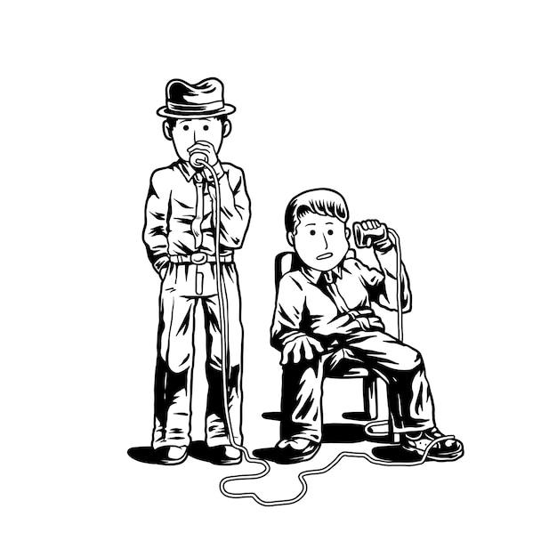 Deux détectives parlant à travers l'illustration des tasses Vecteur Premium