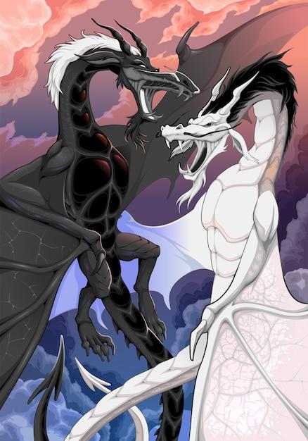 Deux Dragons Opposés Se Battent Mutuellement Illustration Fantastique Vecteur gratuit