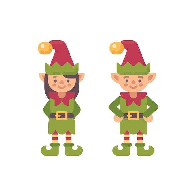 Deux elfes de noël mignons, mâle et femelle. illustration de personnage plat elfe santa claus Vecteur Premium