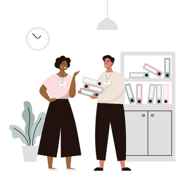 Deux employés du bureau discutent de problèmes de travail. conversation de deux employés de bureau. illustration plate Vecteur Premium