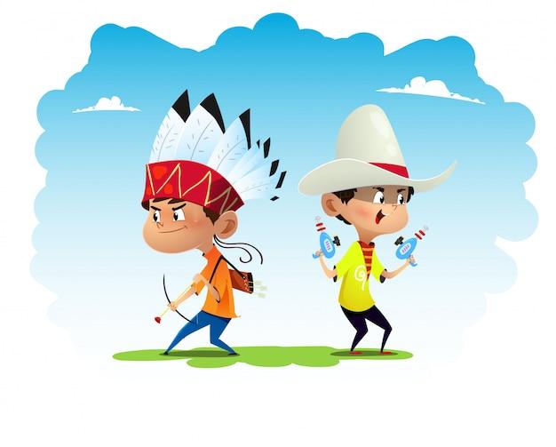 Deux Enfants Amusants De Dessins Animés Habillés Comme Des Indiens Et Des Cow-boys Vecteur Premium