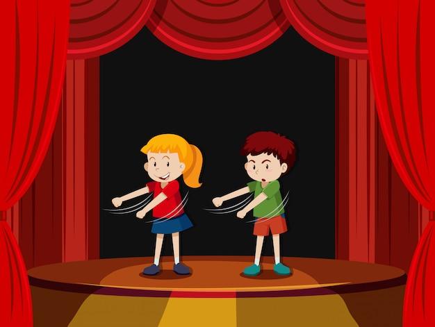 Deux enfants sur scène Vecteur gratuit