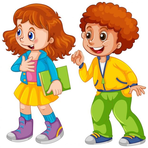 Deux enfants Vecteur gratuit