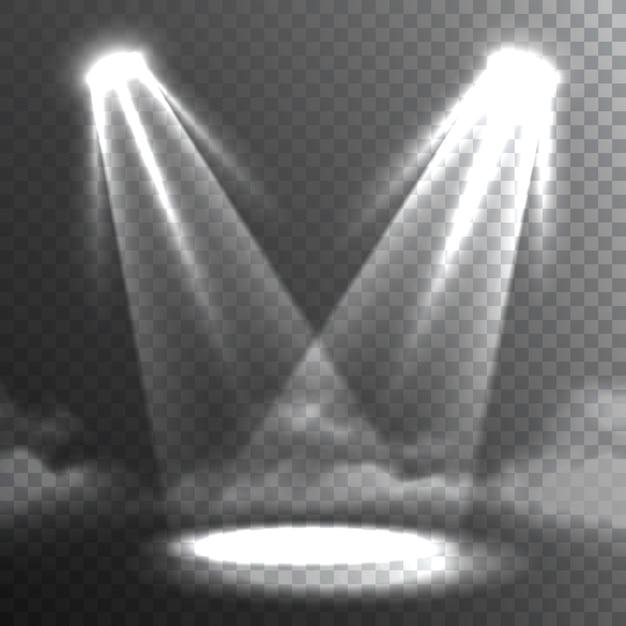 Deux faisceaux de lumières blanches rencontrent la bannière Vecteur gratuit