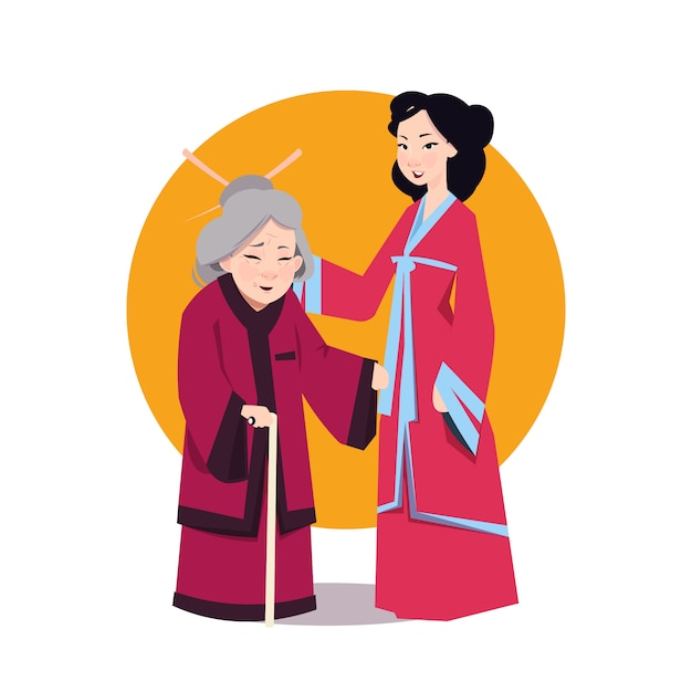 Deux Femme Asiatique En Kimono Japonais Vecteur Premium