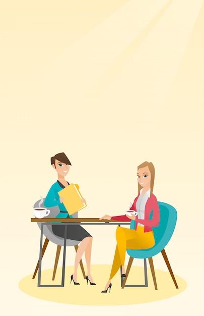Deux Femmes D'affaires Lors D'une Réunion D'affaires. Vecteur Premium