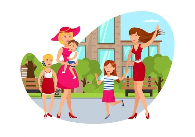 Deux femmes avec enfants plat dessin animé illustration Vecteur Premium