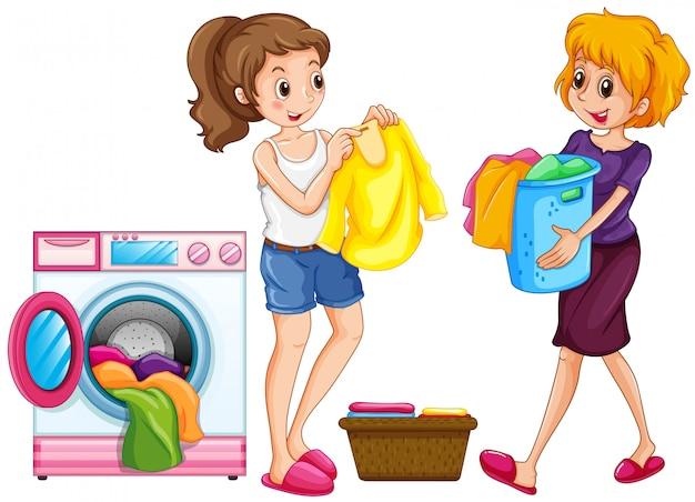Deux femmes, lessive Vecteur Premium