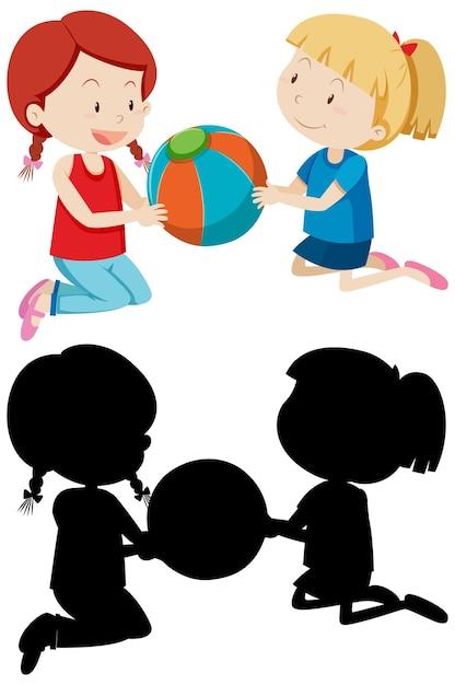 Deux Filles Jouant Au Ballon En Couleur Et Silhouette Vecteur gratuit