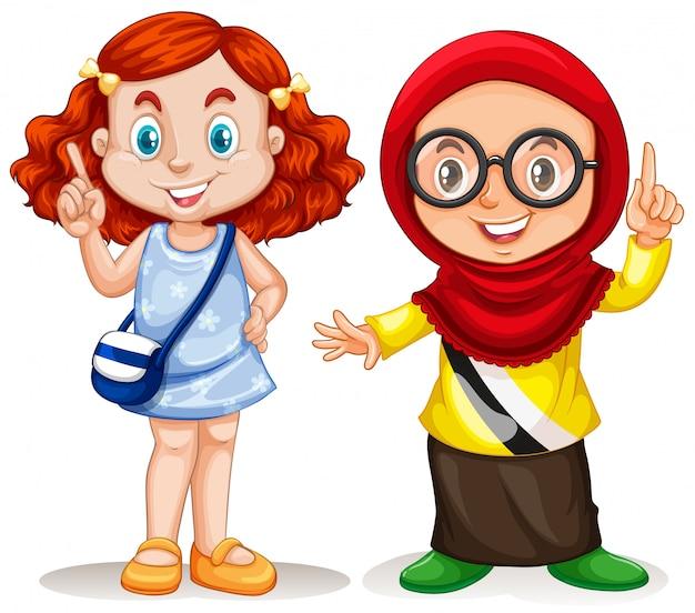 Deux filles pointant le doigt vers le haut Vecteur gratuit