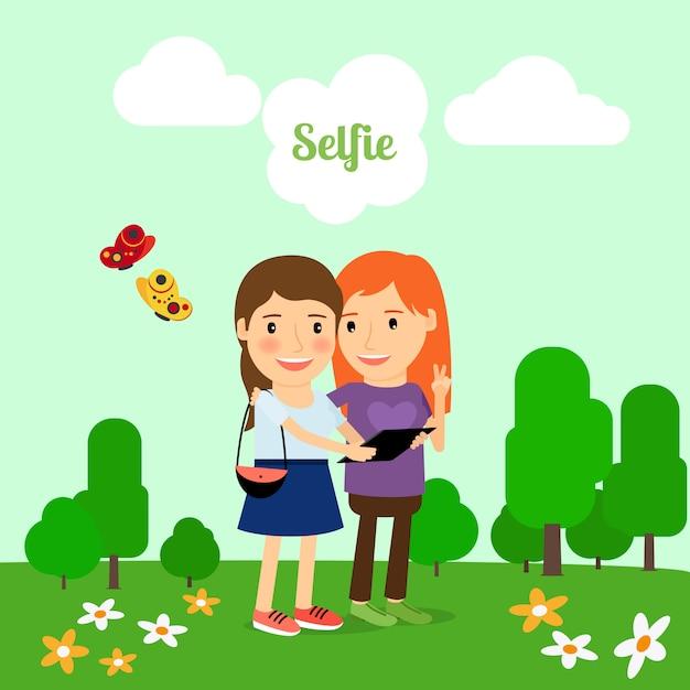 Deux filles prenant selfie Vecteur Premium