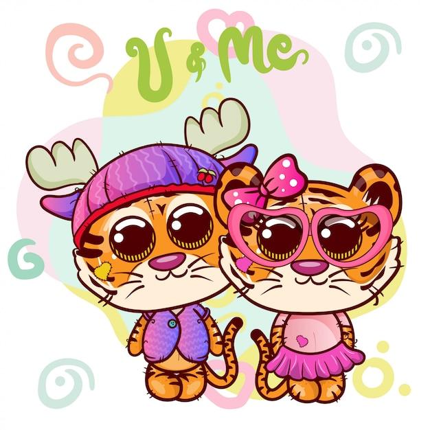 Deux garçon de dessin animé mignon tigre et fille - vecteur Vecteur Premium