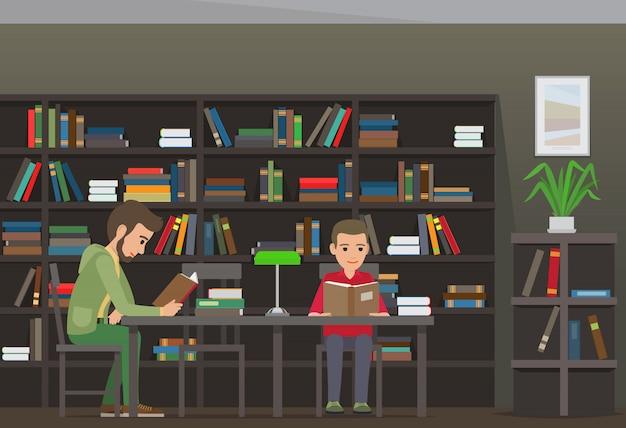 Deux garçons assis à une table et lisent des livres dans une bibliothèque Vecteur Premium