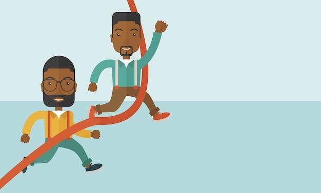 Deux gars africains en cours d'exécution à la ligne d'arrivée. Vecteur Premium