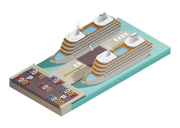 Deux grands navires de croisière modernes Vecteur gratuit
