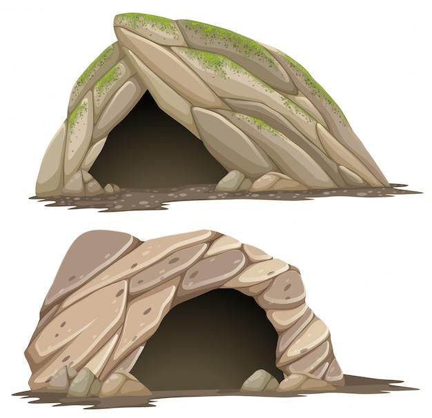 Deux Grottes Différentes Sur Fond Blanc Vecteur Premium