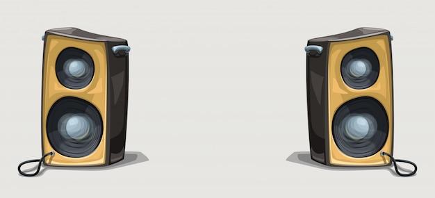Deux Haut-parleurs De Dessin Animé Sur Fond Large Vecteur Premium