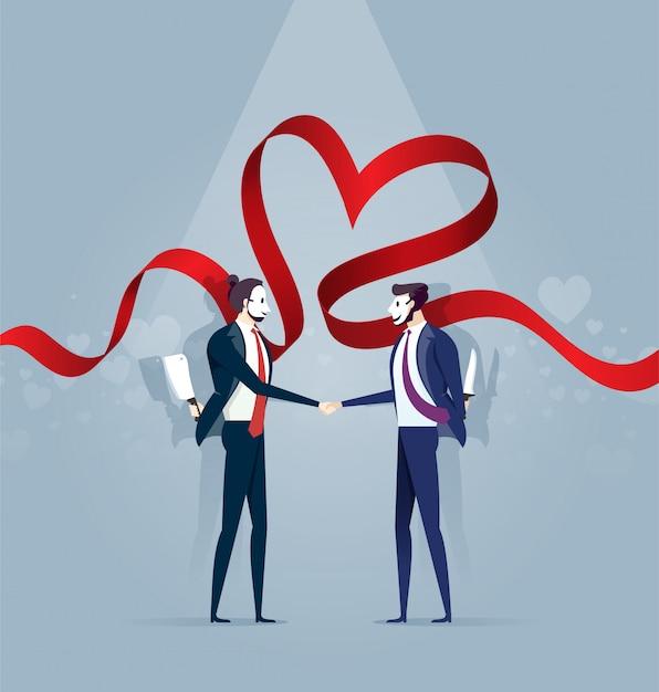 Deux homme d'affaires en masque serrent la main et tenez le couteau. concept d'affaires Vecteur Premium