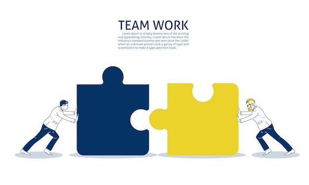 Deux homme d'affaires en poussant deux pièces de puzzle. modèle de texte Vecteur Premium