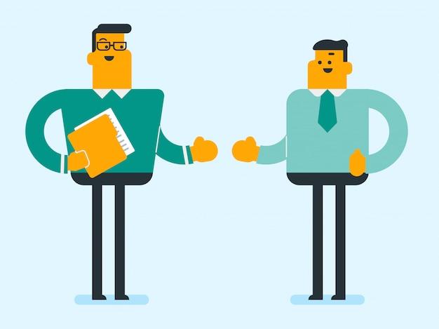 Deux hommes d'affaires confiants blancs caucasiens parler. Vecteur Premium