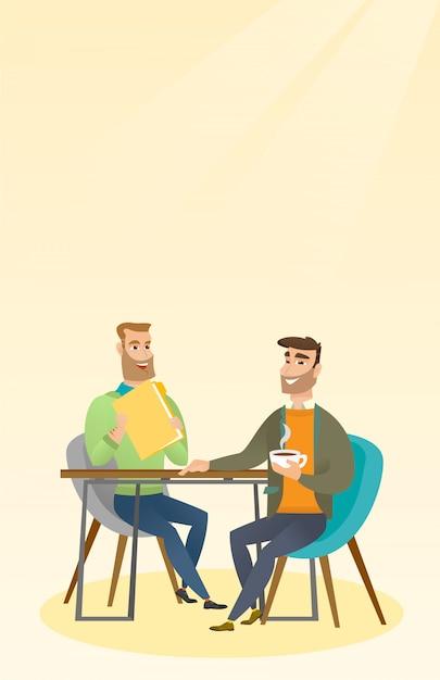 Deux Hommes D'affaires Lors D'une Réunion D'affaires. Vecteur Premium