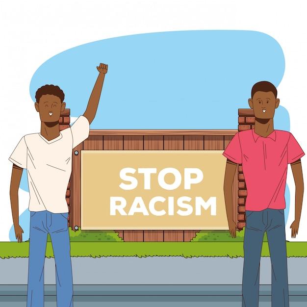 Deux Hommes Afro Arrêtent La Campagne Contre Le Racisme Vecteur Premium