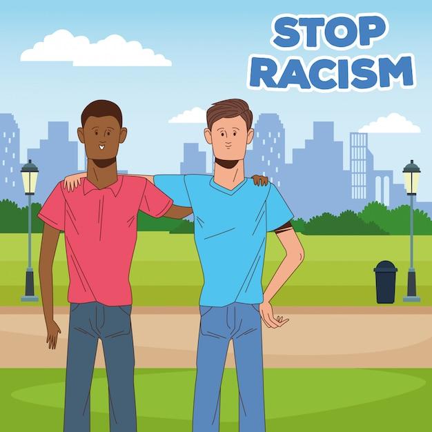 Deux Hommes Interraciaux Arrêtent La Campagne Contre Le Racisme Vecteur Premium