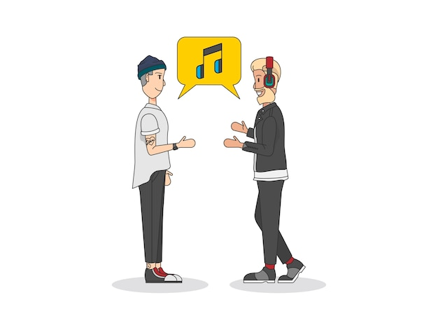 Deux hommes parlent de musique Vecteur gratuit