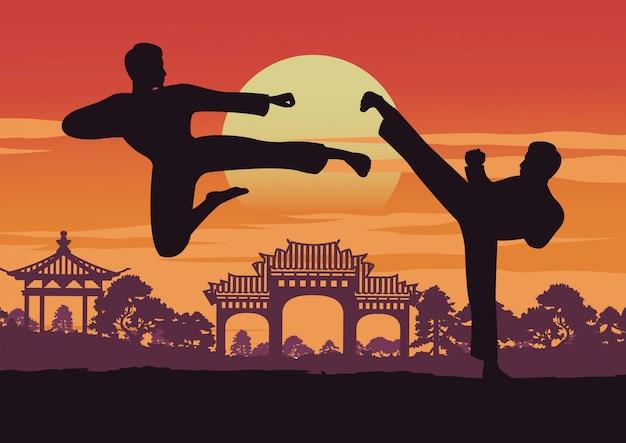 Deux hommes s'entraînent au taekwondo près de l'emblème de la corée Vecteur Premium
