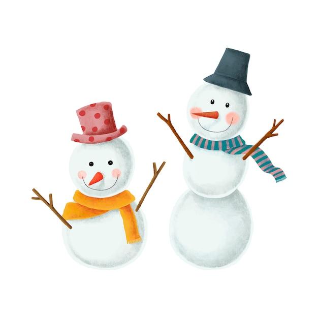Deux illustrations mignonnes de bonhomme de neige de noël Vecteur gratuit