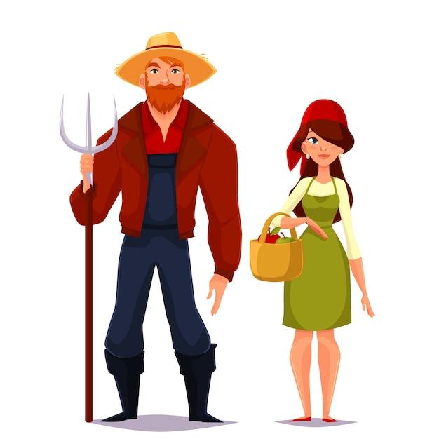 Deux jeune homme et femme agriculteur Vecteur Premium