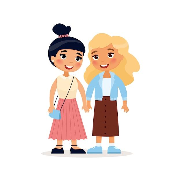 Deux Jeunes Copines Ou Un Couple De Lesbiennes Tenant Par La Main. Personnage De Dessin Animé Drôle. Illustration. Isolé Sur Fond Blanc Vecteur gratuit