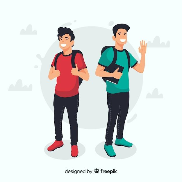 Deux jeunes étudiants Vecteur gratuit