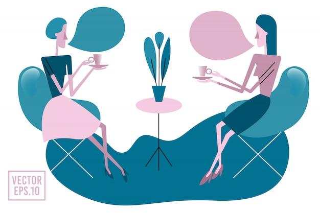 Deux jeunes femmes buvant du thé Vecteur Premium