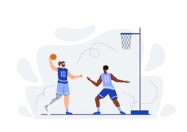 Deux Joueurs De Basket-ball Avec Jeu De Balle Vecteur Premium