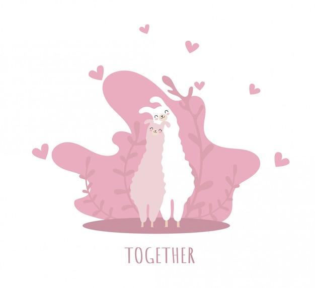 Deux lamas amoureux de sourire et de nombreux détails. ensemble. alpaga mignon. Vecteur Premium
