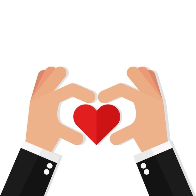 Deux Mains Faisant Signe De Coeur Vecteur Premium