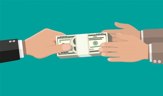 Deux Mains D'homme D'affaires, Donnant De L'argent. Vecteur Premium