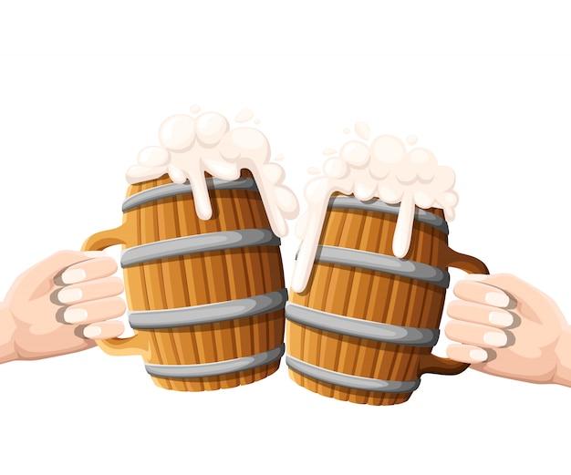 Deux Mains Tenant La Bière Dans Une Tasse En Bois Avec Anneaux De Fer. Concept De Fête De La Bière. Illustration Sur Blanc. Vecteur Premium