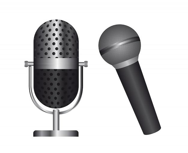 Deux microphone isolé sur fond blanc Vecteur Premium